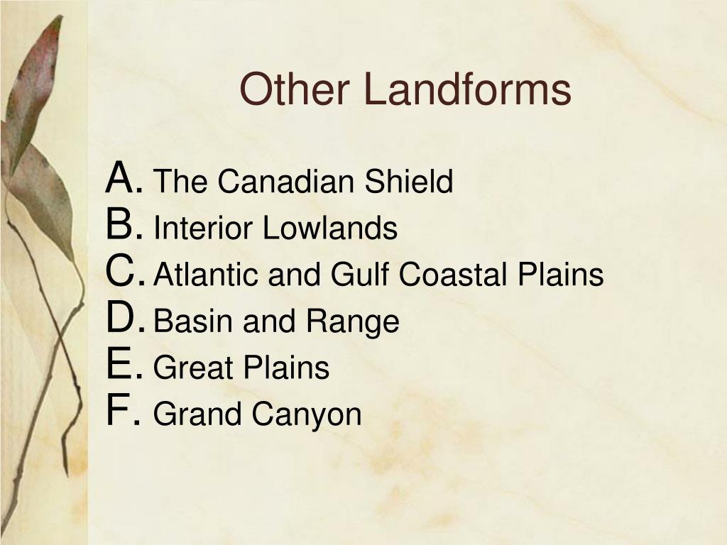 Other Landforms