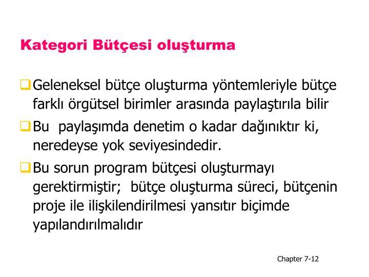 Kategori Bütçesi oluşturma