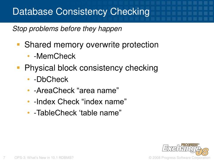 Database Consistency Checking
