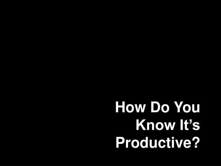 How Do You Know It's Productive?