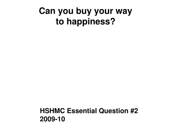 Can you buy your way to happiness?