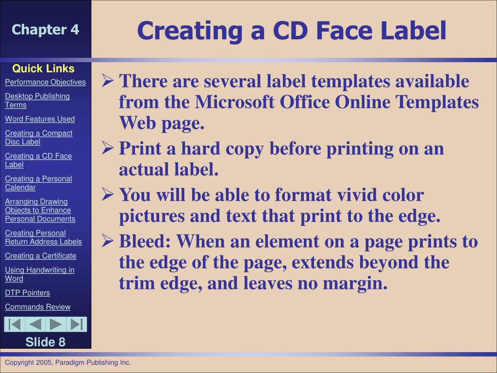 Creating a CD Face Label