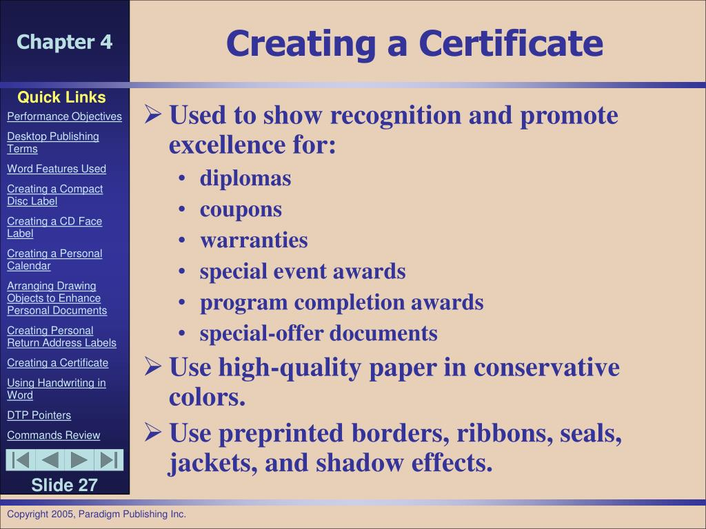 Creating a Certificate