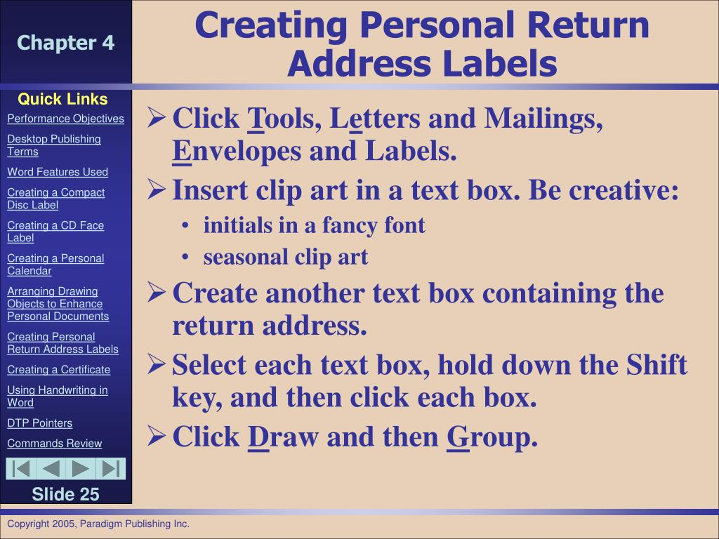 Creating Personal Return Address Labels
