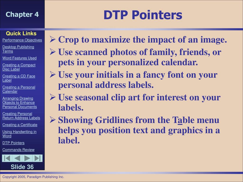 DTP Pointers