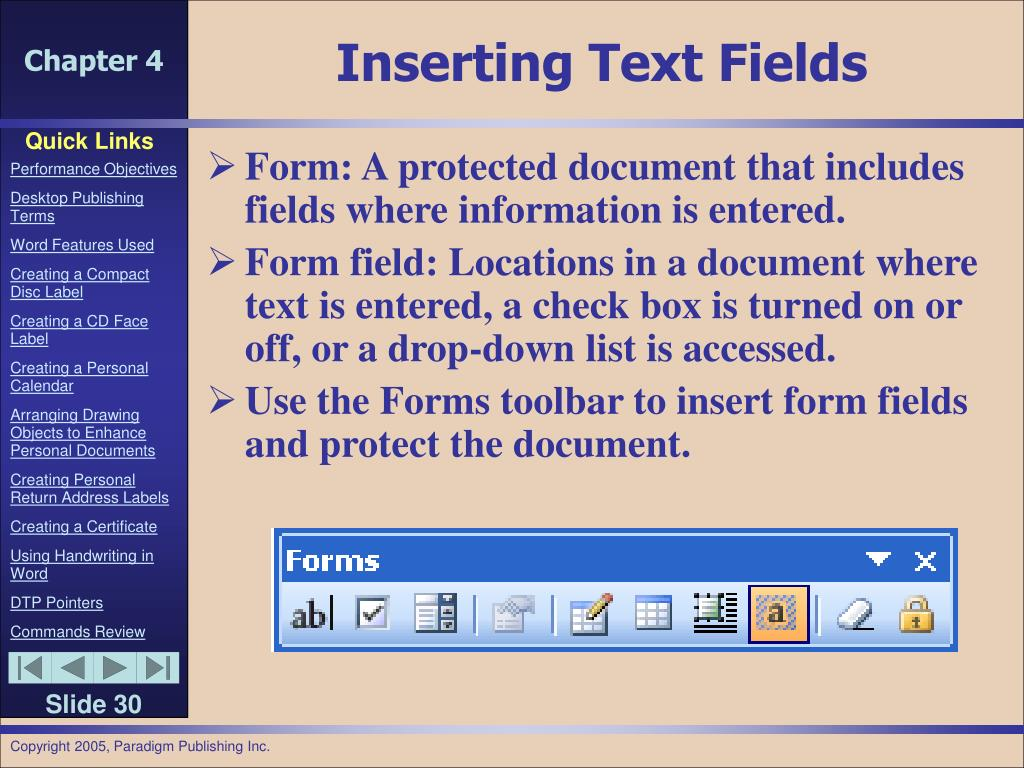 Inserting Text Fields