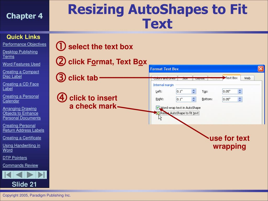 Resizing AutoShapes to Fit Text