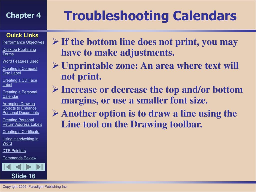 Troubleshooting Calendars