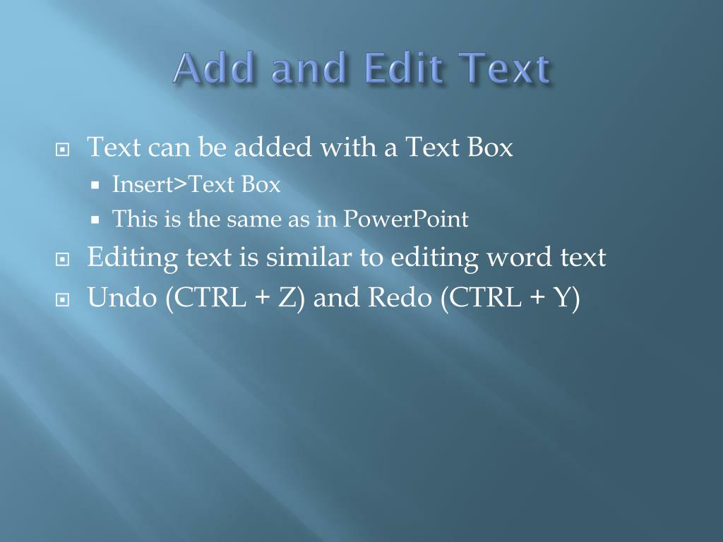 Add and Edit Text