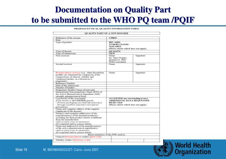 Documentation on Quality Part