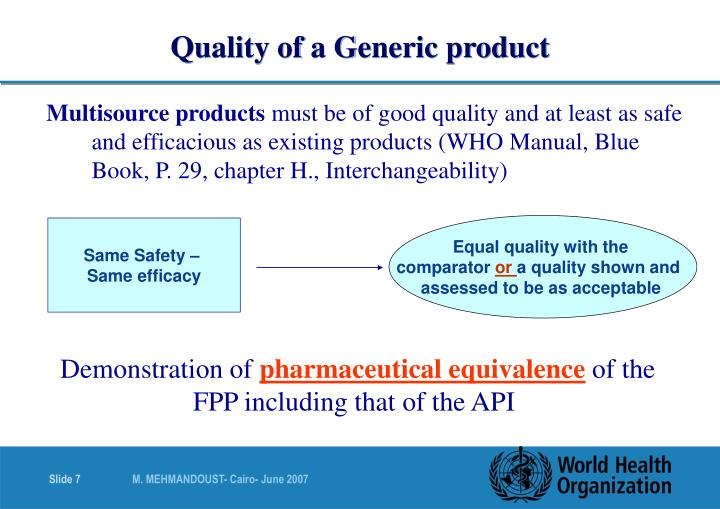 Quality of a Generic product