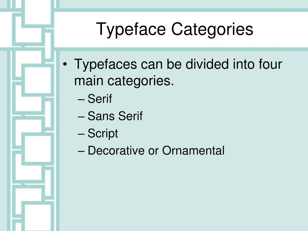 Typeface Categories