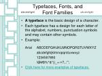 typefaces fonts and font families