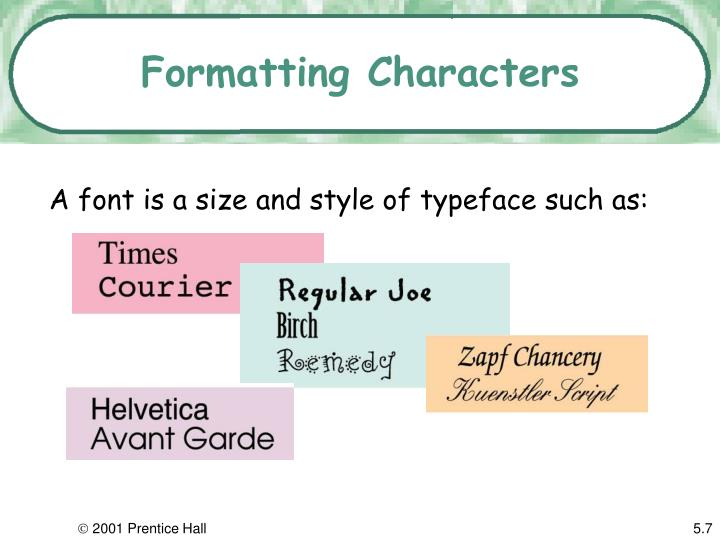 Formatting characters3