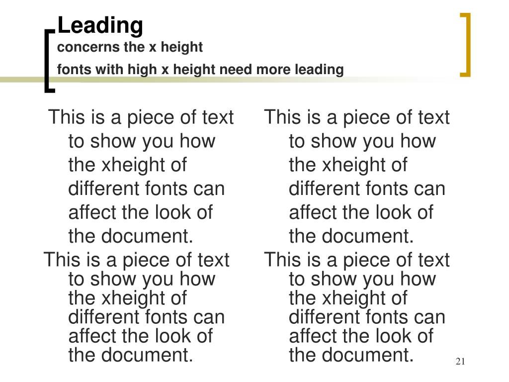 This is a piece of text to show you how the xheight of different fonts can affect the look of the document.