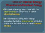 more on internal energy chemical and nuclear energy