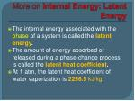 more on internal energy latent energy