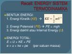 recall energy sistem termodinamika