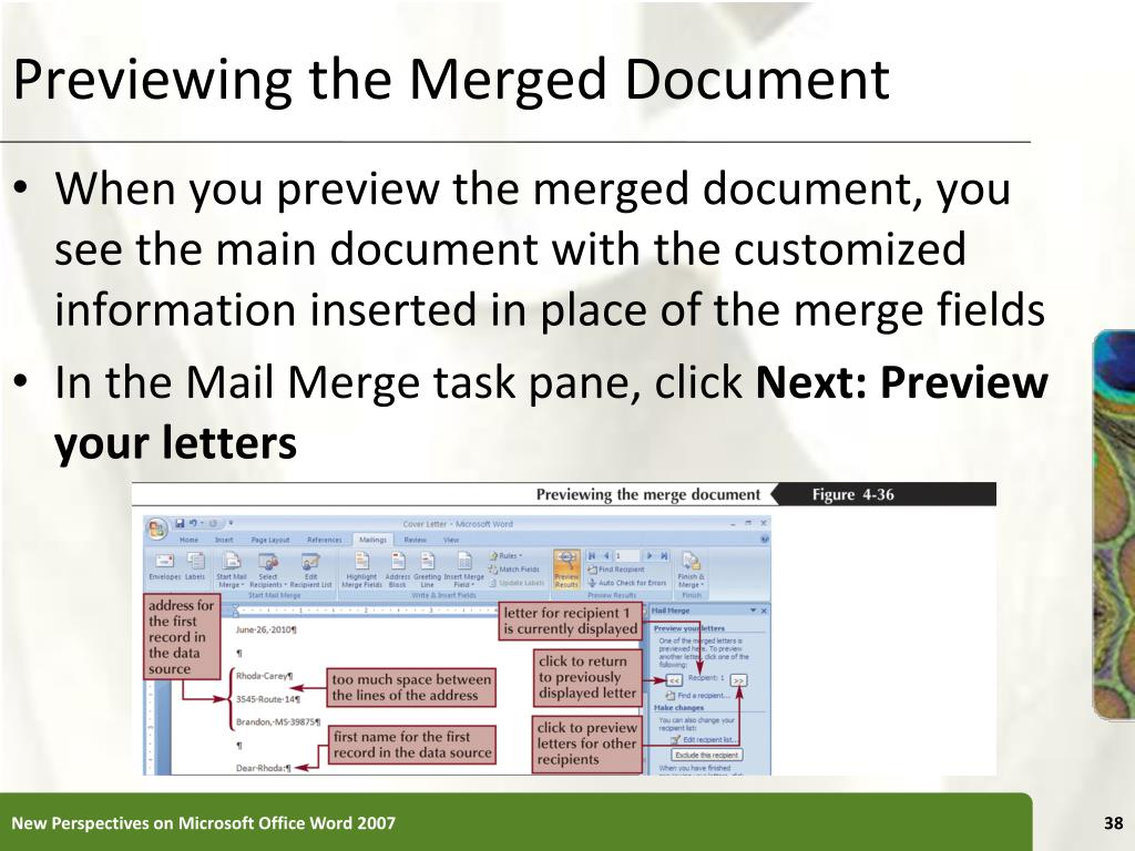 Previewing the Merged Document