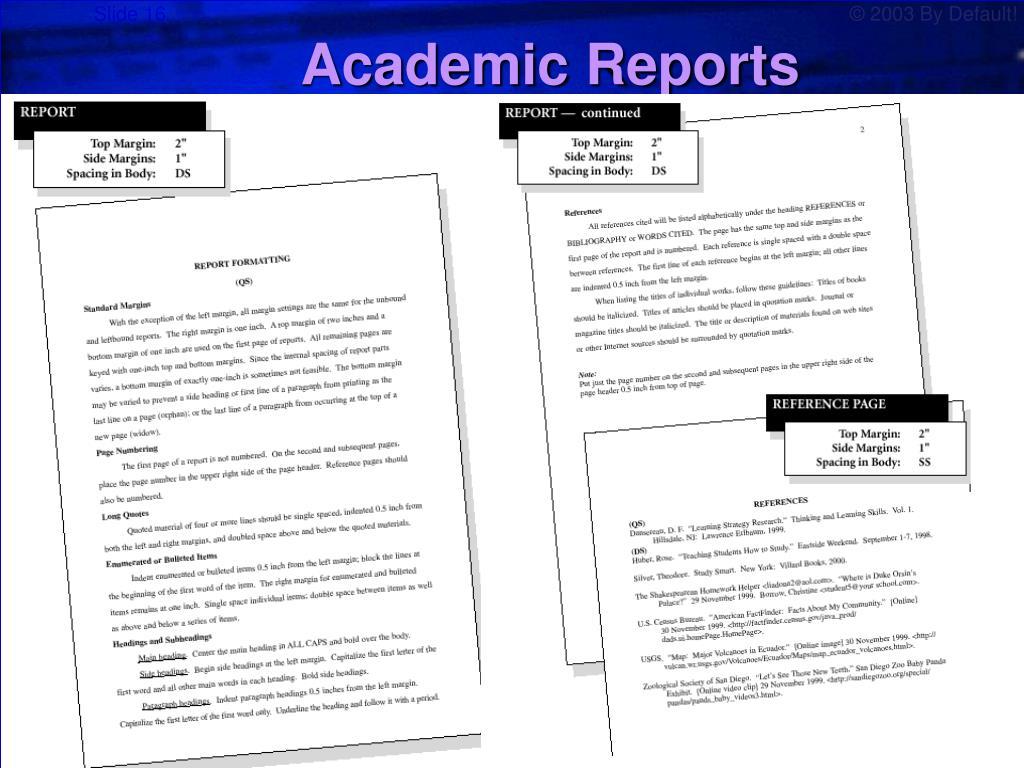 Academic Reports
