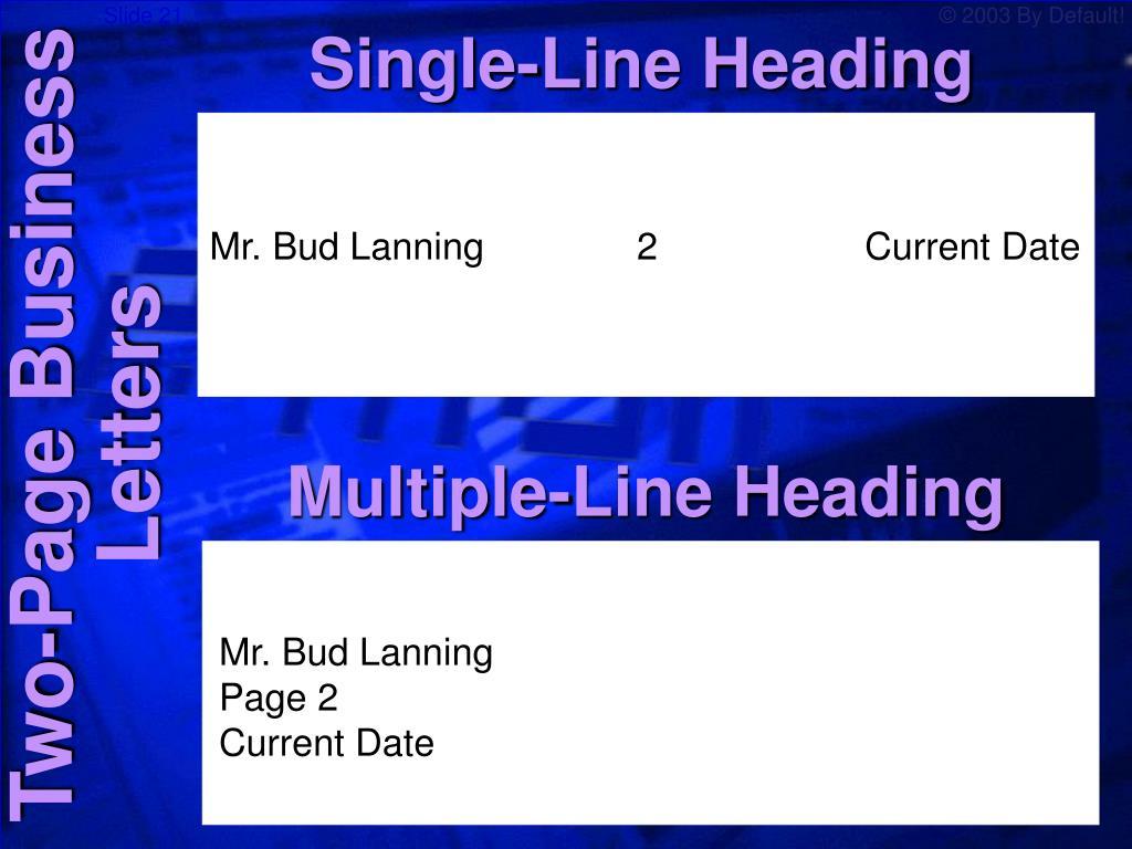 Single-Line Heading