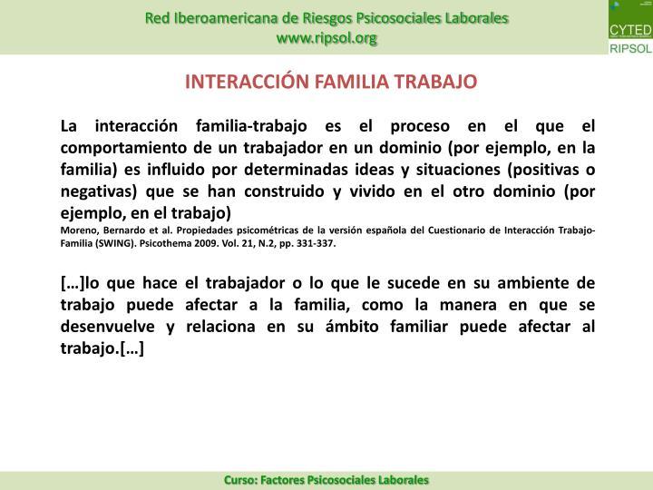 INTERACCIÓN FAMILIA TRABAJO