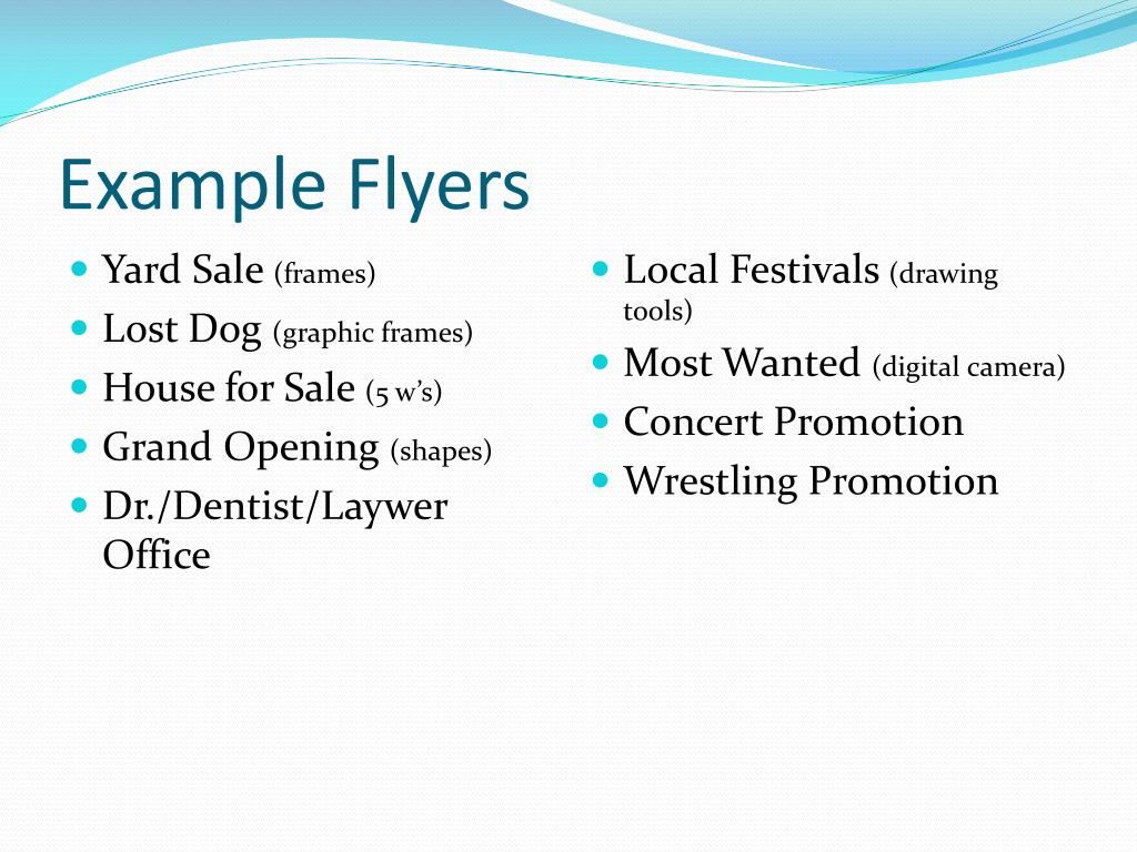 Example Flyers