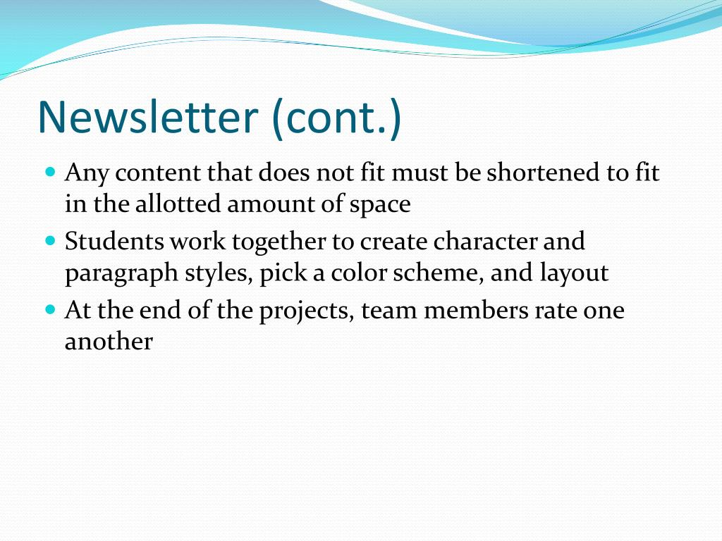Newsletter (cont.)