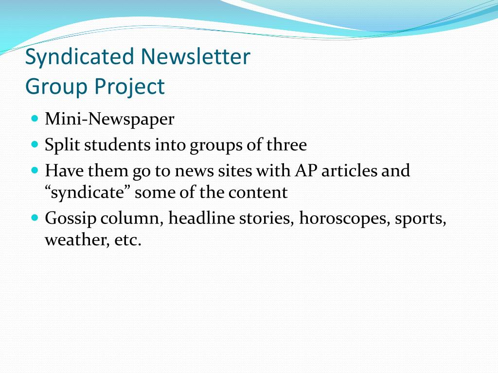 Syndicated Newsletter