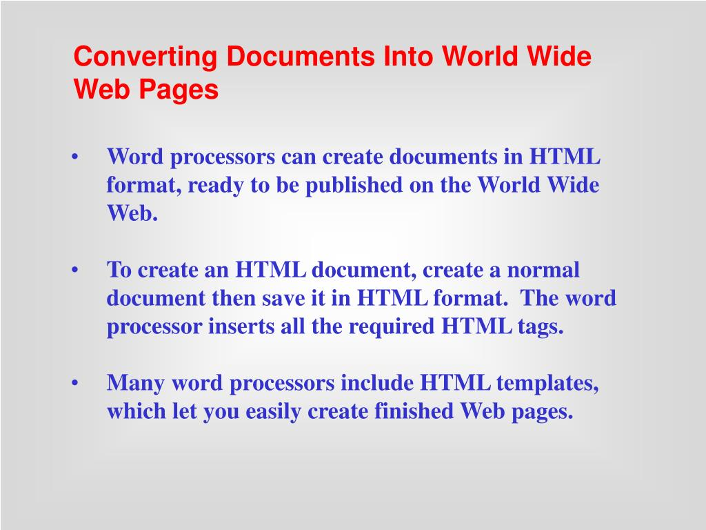 Converting Documents Into World Wide