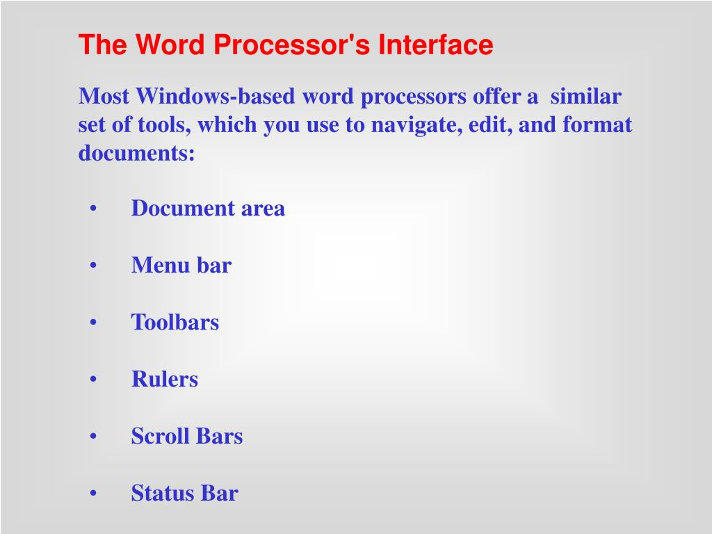 The Word Processor's Interface