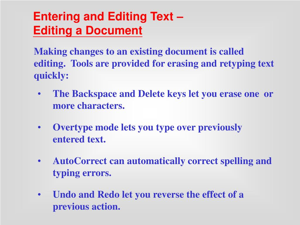 Entering and Editing Text –