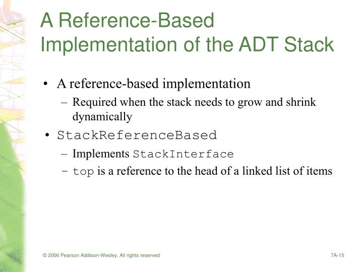 A Reference-Based Implementation of the ADT Stack