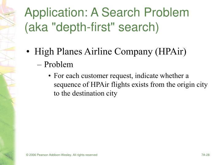 "Application: A Search Problem (aka ""depth-first"" search)"