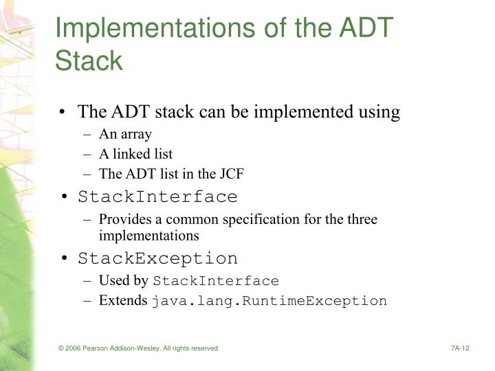 Implementations of the ADT Stack