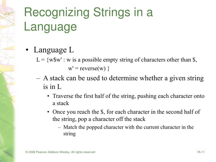 Recognizing Strings in a Language