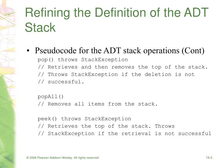Refining the Definition of the ADT Stack