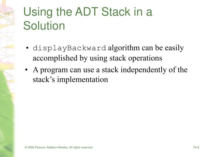 Using the ADT Stack in a Solution