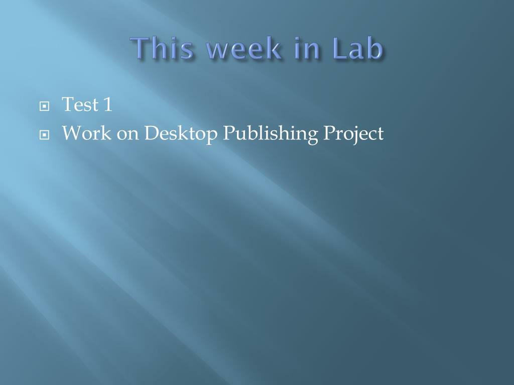 This week in Lab