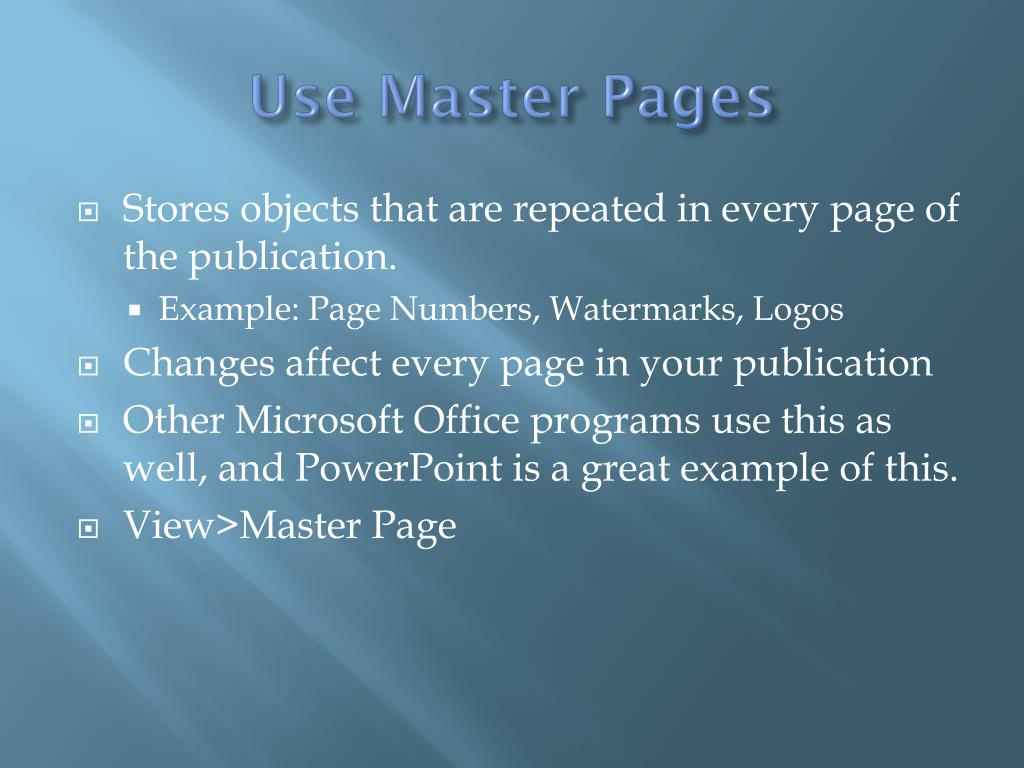 Use Master Pages