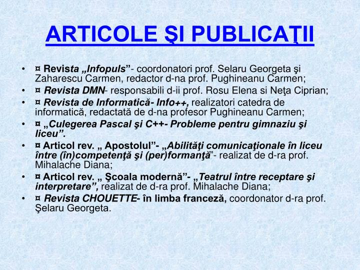 ARTICOLE ŞI PUBLICAŢII