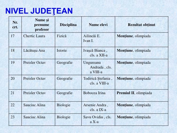 NIVEL JUDEŢEAN