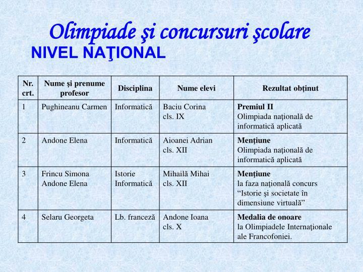 Olimpiade şi concursuri şcolare