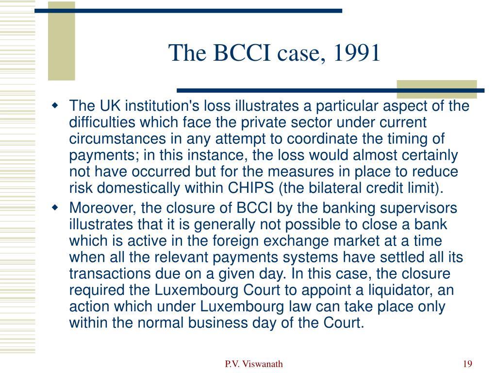 The BCCI case, 1991