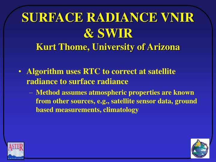 SURFACE RADIANCE VNIR & SWIR