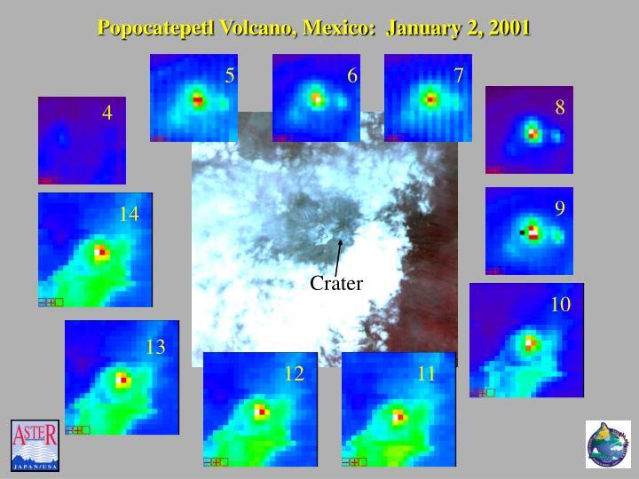 Popocatepetl Volcano, Mexico:  January 2, 2001