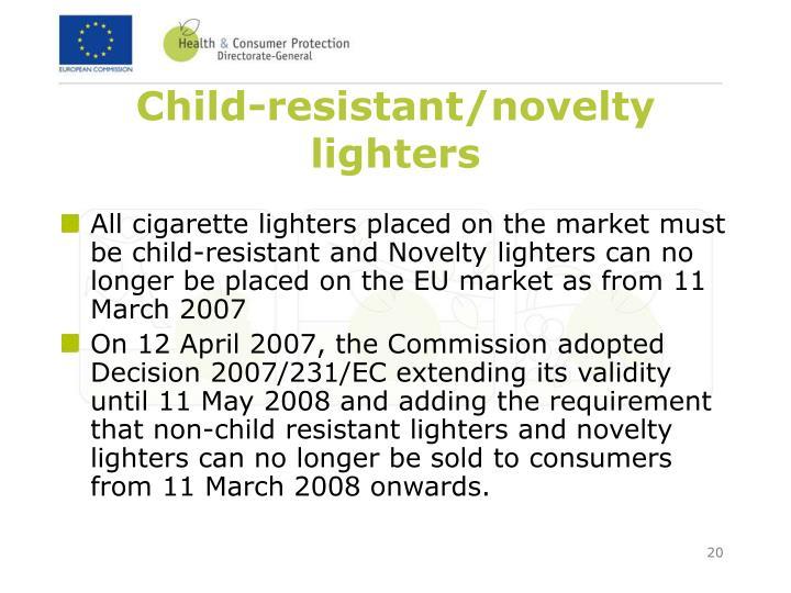 Child-resistant/novelty  lighters