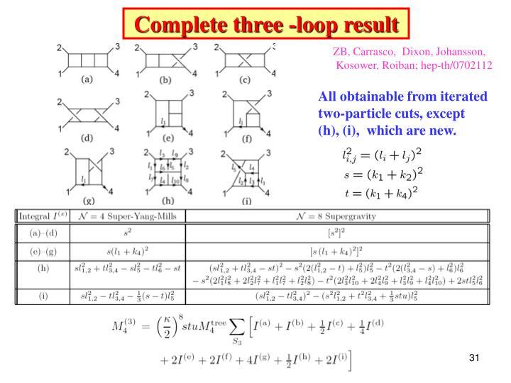 Complete three -loop result