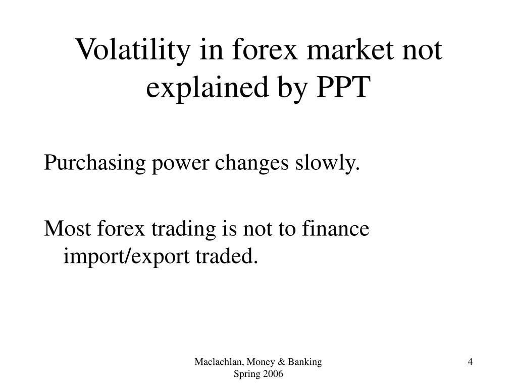 Volatility in forex market not explained by PPT