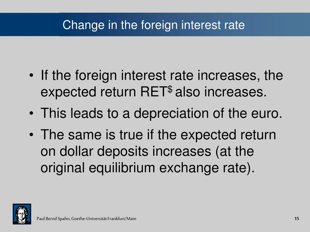 Change in the foreign interest rate